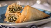 Spinach and onions stuffed inside filo dough pastries