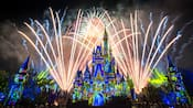 Cinderella Castle at night, illuminated by light projections and fireworks