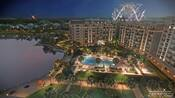 An illustration of the upcoming Disney's Riviera Resort at Walt Disney World Resort near Orlando, Florida