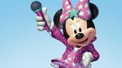 Minnie Mouse holding a microphone