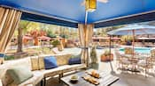 Inside a private poolside cabana