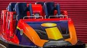 An Incredibles-themed roller coaster car for the Incredicoaster ride