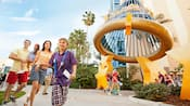 A family of four discovers the excitement hidden around the grounds of the Disneyland Hotel