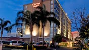 Palm trees lead the way to the entrance to the Clarion Hotel Anaheim Resort lit up at night