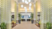 Designed with modern décor, the lobby of the Hilton Garden Inn evokes an airy, sophisticated feel