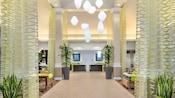 Designed with modern decor, the lobby of the Hilton Garden Inn evokes an airy, sophisticated feel