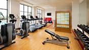 Life cycles, treadmills and other workout equipment are lined up at the Sheratons fitness centre