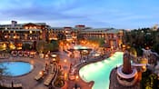 Bird's-eye view over the 3 pools at Disney's Grand Californian Hotel & Spa