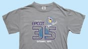 A gray tee shirt that reads 'Epcot 35 I was there'