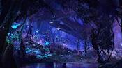 Un grupo de Na'vi pasea por la selva bioluminiscente en Pandora – The World of Avatar