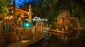 The dock, shack and surrounding area outside the Jungle Cruise attraction in Adventureland