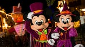 "Mickey and Minnie, dressed in their Halloween finest, at Mickey's ""Boo-To-You"" Halloween parade"