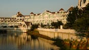 An exterior view of Disney's Beach Club Villas from a canal