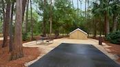 Árvores altas e arbustos emolduram o acampamento com área de estacionamento cimentada e mesa de piquenique.
