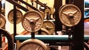 Close-up of weights on a Hammer Strength machine