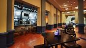 A seating area near a bar