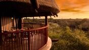 Sous un toit de chaume, un balcon avec une table et des chaises surplombe la savane du complexe au coucher du soleil