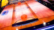 Close-up of an air hockey table