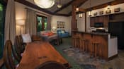 The kitchen, dining area and living area of a Treehouse Villa