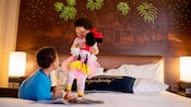 Young girl and boy in Disneyland Grand Californian Hotel