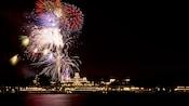 Fireworks light up the night over the Seven Seas Lagoon at Walt Disney World Resort