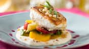 The pacific halibut on roasted heirloom beets with parsnip silk from California Grill