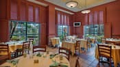 Airy dining area set for breakfast in Fresh Mediterranean Market at Walt Disney World Dolphin Resort