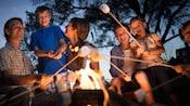 A family roasting marshmallows at a campfire