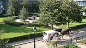 Un carruaje de caballos en un camino estrecho cerca de un patio cubierto de hierba