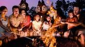 8 personas, niños y adultos, sentados alrededor de una fogata para asar malvaviscos con Chip y Dale