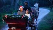 Un papá con sombrero de Santa junto a su hija vestida de princesa dando un paseo en trineo