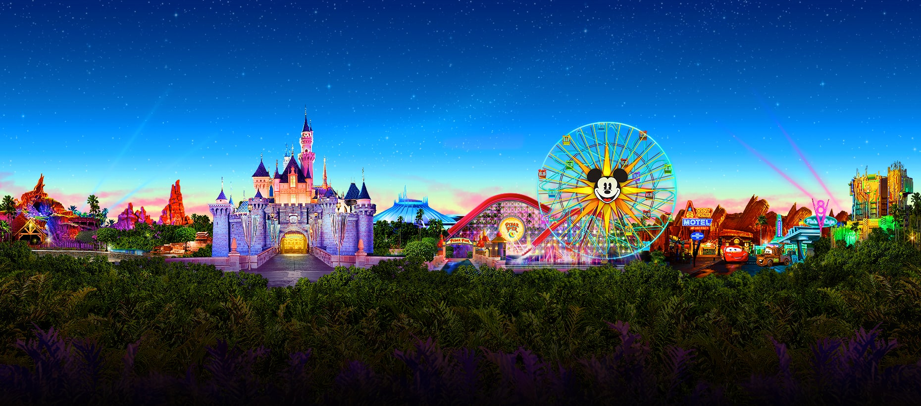 A cartoon like picture that depicts Disneyland Resorts 2 theme parks and  includes images of Sleeping