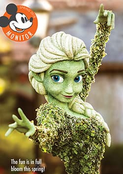 A topiary of Elsa with superimposed words that read The fun is in full bloom this spring
