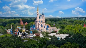 Cinderella Castle and surrounding attractions at Magic Kingdom park