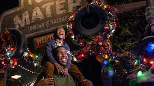 Father and son at Cars Land during the holidays at Disney California Adventure Park