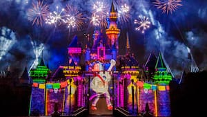 Fireworks burst in the sky above Sleeping Beauty Castle, which has a projection of Miguel from the film Coco on it