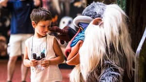 Rafiki touches a young boy's nose at Rafiki's Planet Watch in Disney's Animal Kingdom theme park