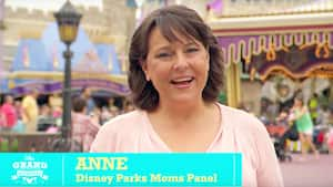 A friendly grandmother and spokeswoman talks to the camera from Disney Parks Mom's Panel