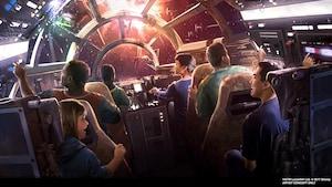 Ilustração conceitual da atração Star Wars Millennium Falcon