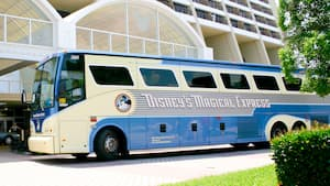 Disney's Magical Express motorcoach is parked at a bus stop outside one of the Resort hotels