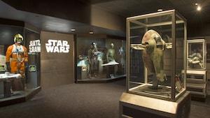 """Modelos de naves espaciales y variedad de disfraces de héroes y villanos de diferentes películas de """"Star Wars"""""""