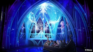 Conceptual art of Guests riding in a boat toward Elsa while experiencing 'Frozen' Ever After at Epcot