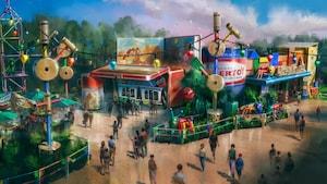 Art conceptuel présentant un grand thermos Roundup de Woody à côté de comptoirs de commande à Woody's Lunch Box