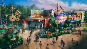 Concept art featuring a large Woody's Roundup thermos next to the walk-up windows at Woody's Lunch Box