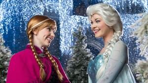 Anna y Elsa se sonríen durante la transformación Frozen Holiday Wish en el Parque Temático Magic Kingdom
