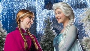 Anna et Elsa se sourient lors de la transformation Frozen Holiday Wish au parc Magic Kingdom