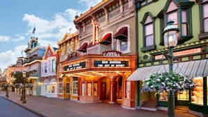 The storefronts of Main Street, U.S.A. await Guests prior to the opening of Magic Kingdom park