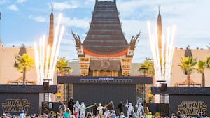 Boba Fett, Darth Vader, C-3PO, Chewbacca, Kylo Ren and others on stage at Disney's Hollywood Studios