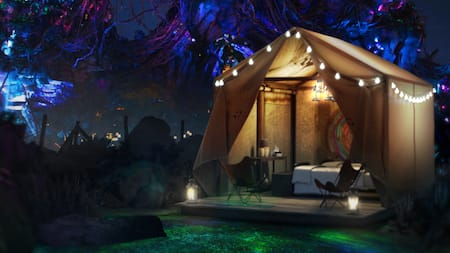 A luxury camping tent in Pandora The World of Avatar at night
