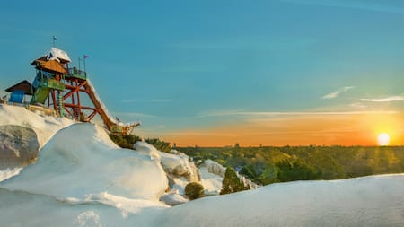 A snowy mountain overlooking trees with a waterslide at the top